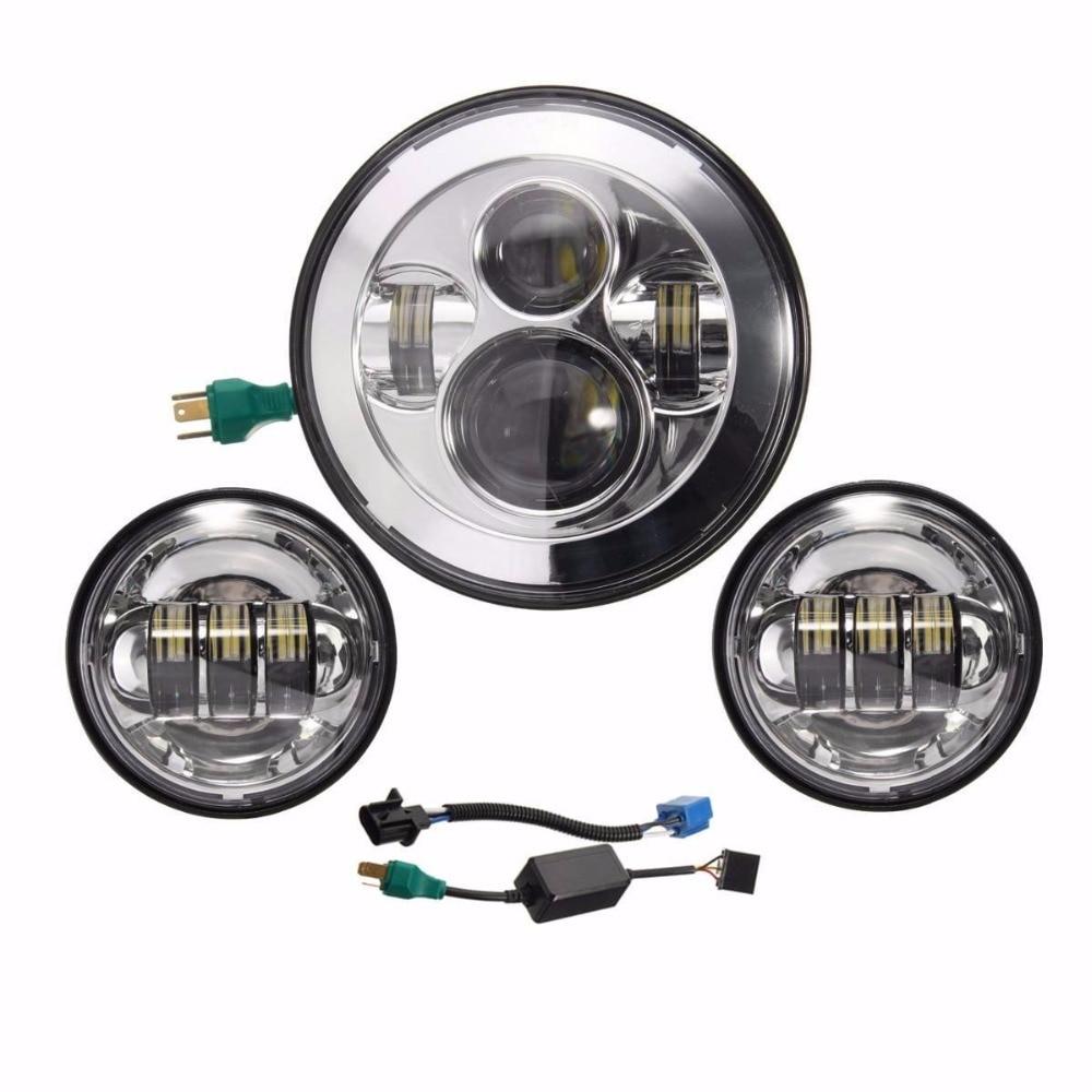 3pcs 7''inch 40W LED Motorcylce Headlight plus 4.5inch LED Fog Lamp for Offroad Light