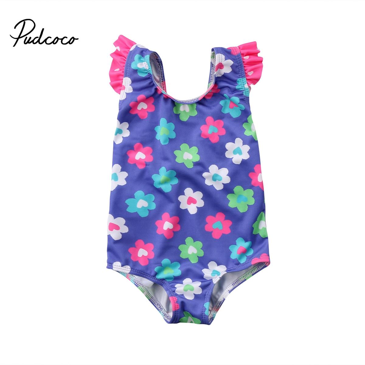 Fashion Summer New Kids Baby Girls Little Flower O-pieces Fly Sleeve Swimmer Bather Swimwear Pool Beach Summer