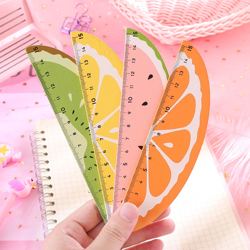 15cm Lovely Watermelon Fruit Ruler Kawaii Sector Straight Rulers For Kids Girls Gift School Office Supplies Measure Stationery
