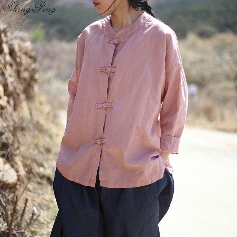 Vêtements chinois traditionnels décontracté hauts amples blouse marché chinois en ligne traditionnel chinois petit haut Q329 - 5