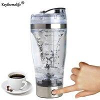 Keythemelife Shakes de Proteína Em Pó Garrafa garrafas de Mistura de Café Automática Misturador Shaker Garrafas de água de Aço Inoxidável À Prova de Fugas D7