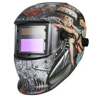 Solar Power Auto Darken Industrial Welding Helmet Sexy Lady Print Grinding Mask Cool Fashion Look Enhanced Color Recognition