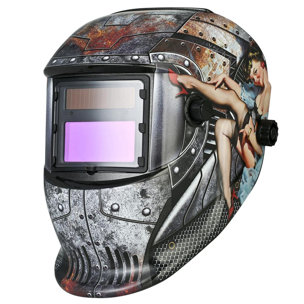 Solar Power Auto-Darken Industrial Welding Helmet Sexy Lady Print Grinding Mask Cool Fashion Look Enhanced Color Recognition