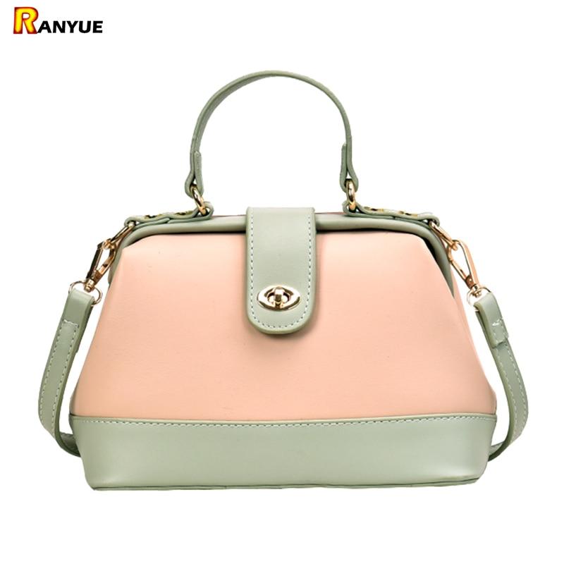 Bags Purse Doctor-Bag Panelled Shoulder-Crossbody-Bags Women Handbag Small Lock for Patchwork
