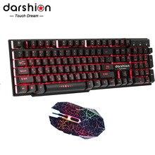 Красочный подсветкой русская клавиатура LED Проводная компьютерная + Оптический 6D Проводная LED Crack Мышь для Pro Gamer