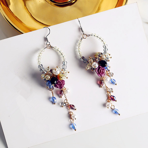 все цены на 2017 Korean Ear Accessories Fashion Statement Earrings Boucle D'oreille Rhinestone Flower Beads Tassel Earrings New Jewelry