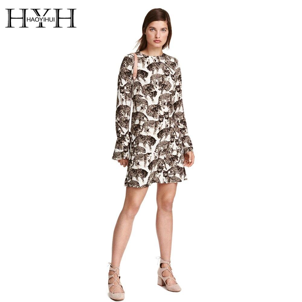 HYH HAOYIHUI Femmes Robe Robes Imprimé Ras Du Cou À Manches Longues Robe  Évider Streetwear Élégant Mini Robe 03b397ea411