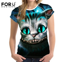 FORUDESIGNS Cute Cat Dog Tshirts Women Tops Funny 3D Tee Shirt Femme Ladies T Shirt 2017
