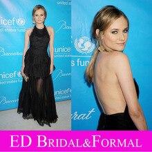 Diane Kruger Schwarz Kleid zu UNICEF Ball Red Carpet Halter Schößchen Sexy Backless Formal Abendkleid Gothic Prom Kleid