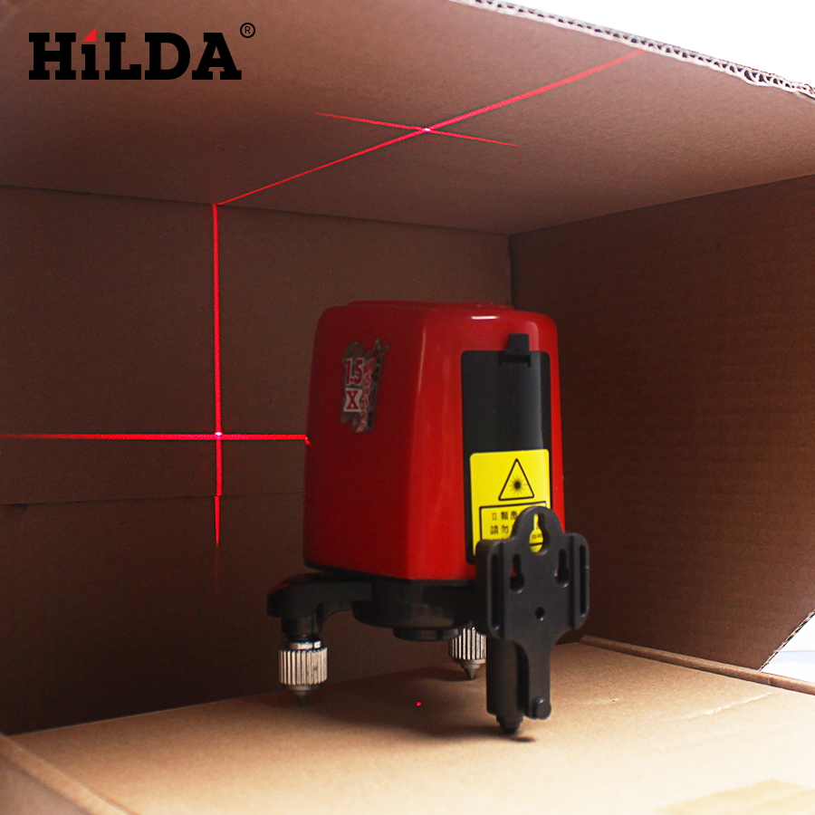цены  HILDA 3 Lines 3 Points Rotary Horizontal Vertical Red Laser Levels Cross laser Line + Laser Highlights 360 Degree Self-leveling