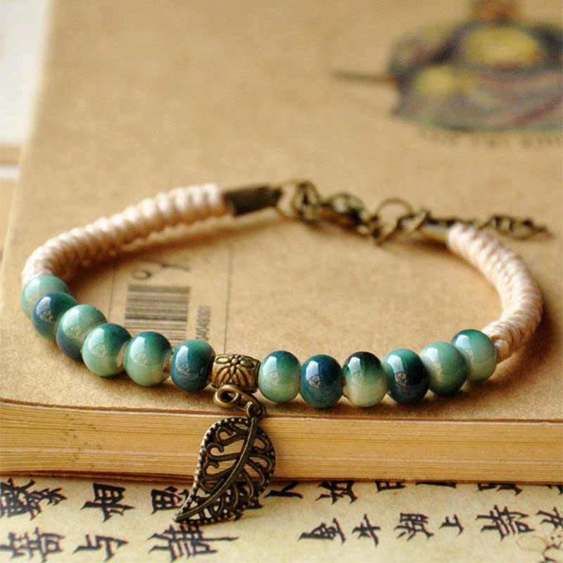 Leaf Charm Weave Rope Bracelets Women Men Ceramic Beads Adjustable Wristbands Link Chain Cuff Bangle Bohemian Leaves Jewelry