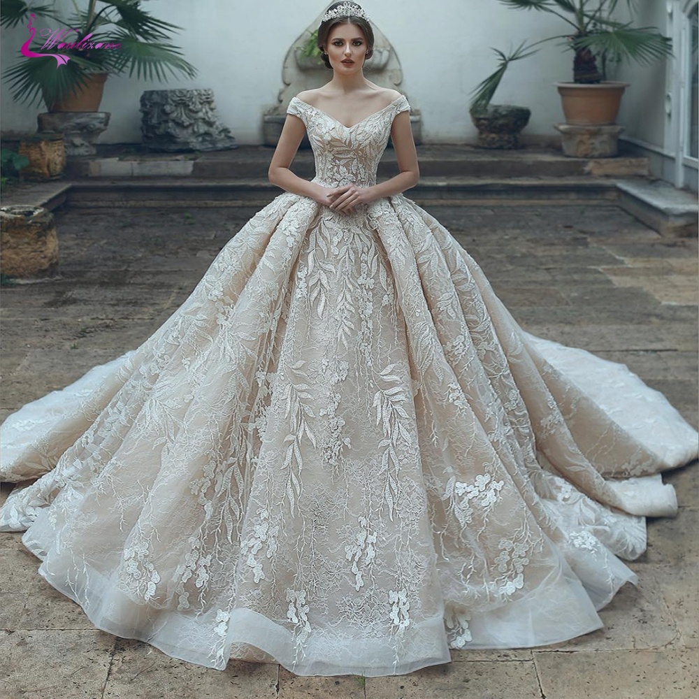 Waulizane Luxury V Neckline Of Champagne Colro Ball Gown Wedding Dress Off The Shoulder Bridal Dress
