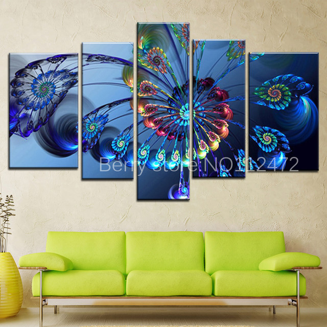 Diy 5pcs/set Modern 5d Diamond Painting Canvas Landscape Abstract Art Blue Peacock  Wall Art Picture For Embroidery Home Decor