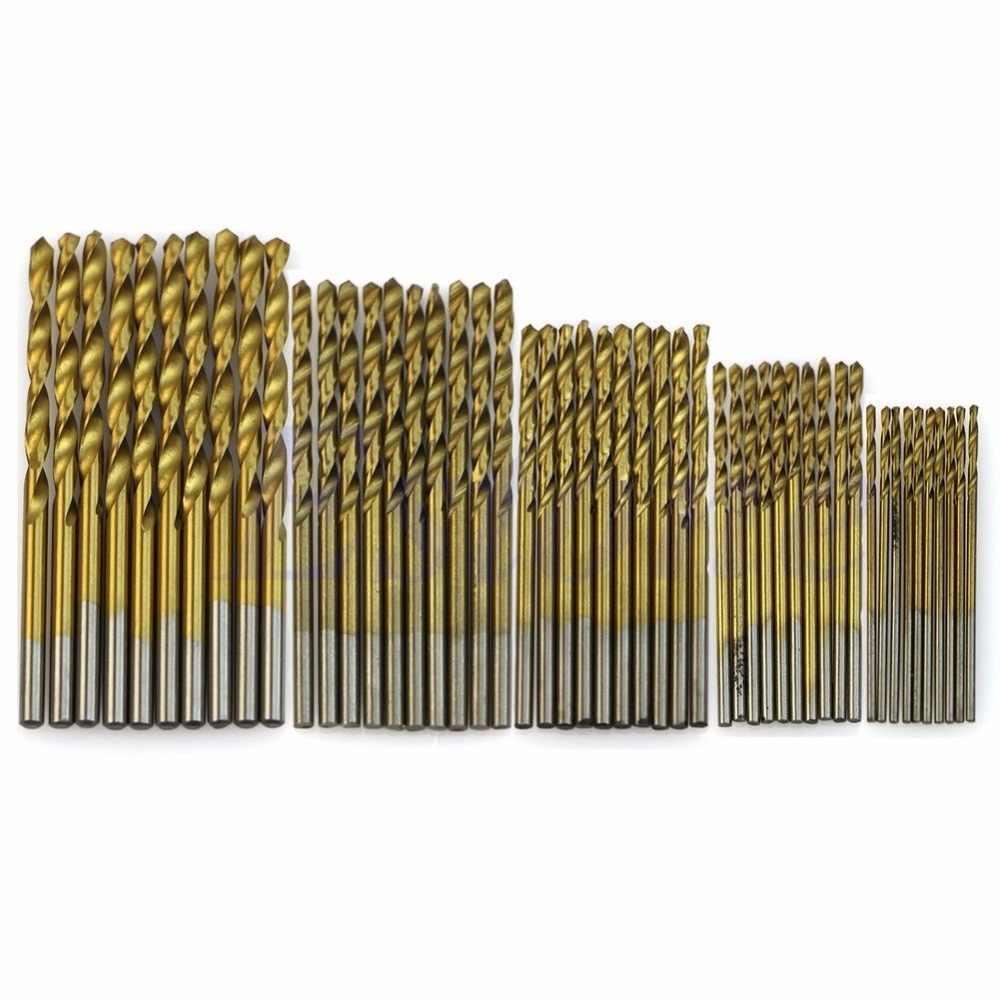 OOTDTY 50 Cái Titanium Tráng HSS Tốc Độ Cao Khoan Thép Bit Set Tool 1/1. 5/2/2.5/3 mét