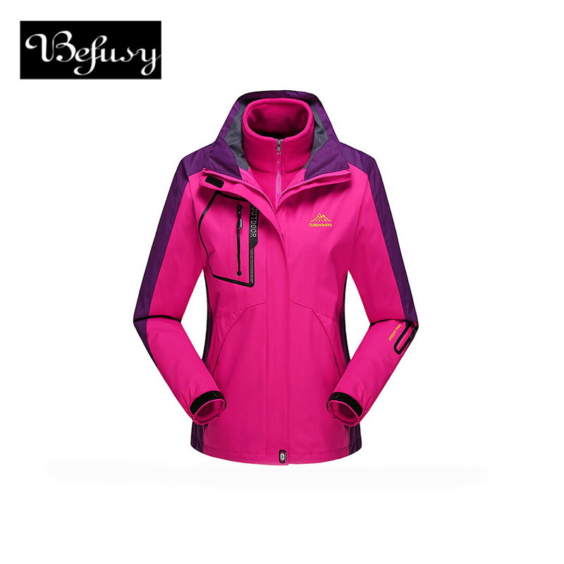 Befusy Two-Pieces Fleece liner Removable Women Men Outdoor Camping Hiking Waterproof Windproof Mountain Sport Thicken Ski Jacket outdoor winter ski hiking waterproof jacket women men two piece large size fleece warm jacket windproof hood sport jacket 13077a