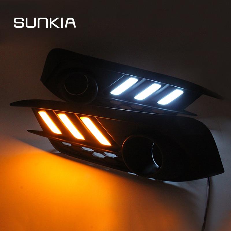 2Pcs/Set SUNKIA Car LED Daytime Running Light DRL for Honda Civic 10th 2016 2017 2018 Day Light Car Styling Free Shipping