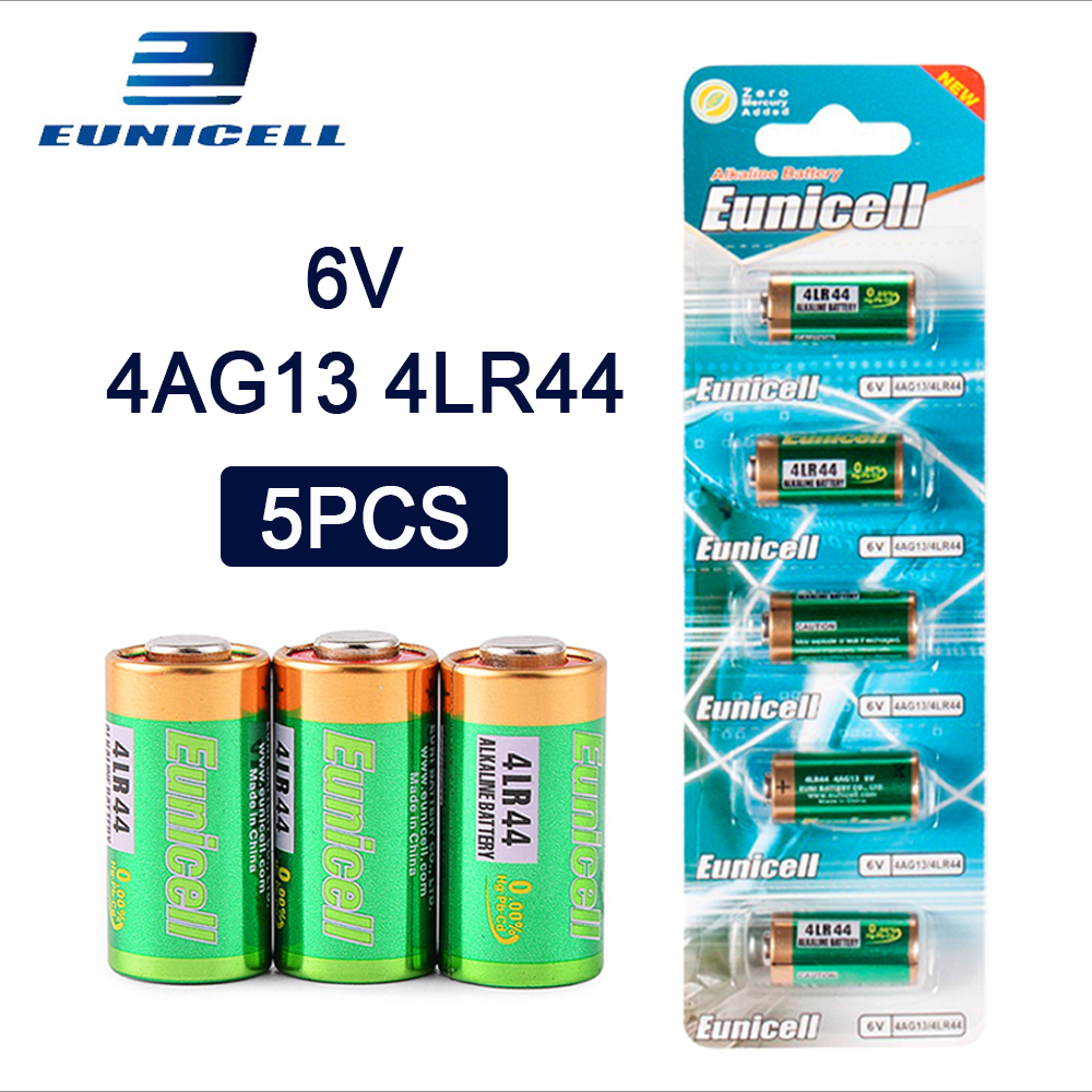 5pcs 1 Card 6V 145mAh 4LR44 Alkaline battery for Cells Car Remote Watch A544V 4034PX PX28A L1325 544 4A76 4AG13 Dry Batteries in Primary Dry Batteries from Consumer Electronics