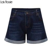Dark blue plus size wysokiej zwężone zwinięte hem myte spodenki jeansowe dla kobiet ladies dziewczyny dorywczo podstawowe oversize skinny szorty