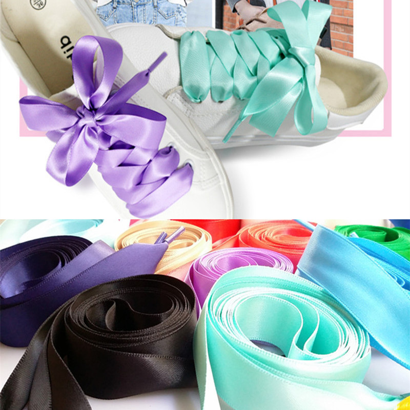 New 22 Color 2 Cm Width Satin Silk Ribbon Shoelaces 80/100/120/140/160 Cm Length Sneaker Sport Shoes Lace Drop Shipping