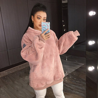 Women Oversize Hoodies Sweatshirts 2017 Autumn Winter Solid Color Fleece Long Sleeve Loose Tracksuit