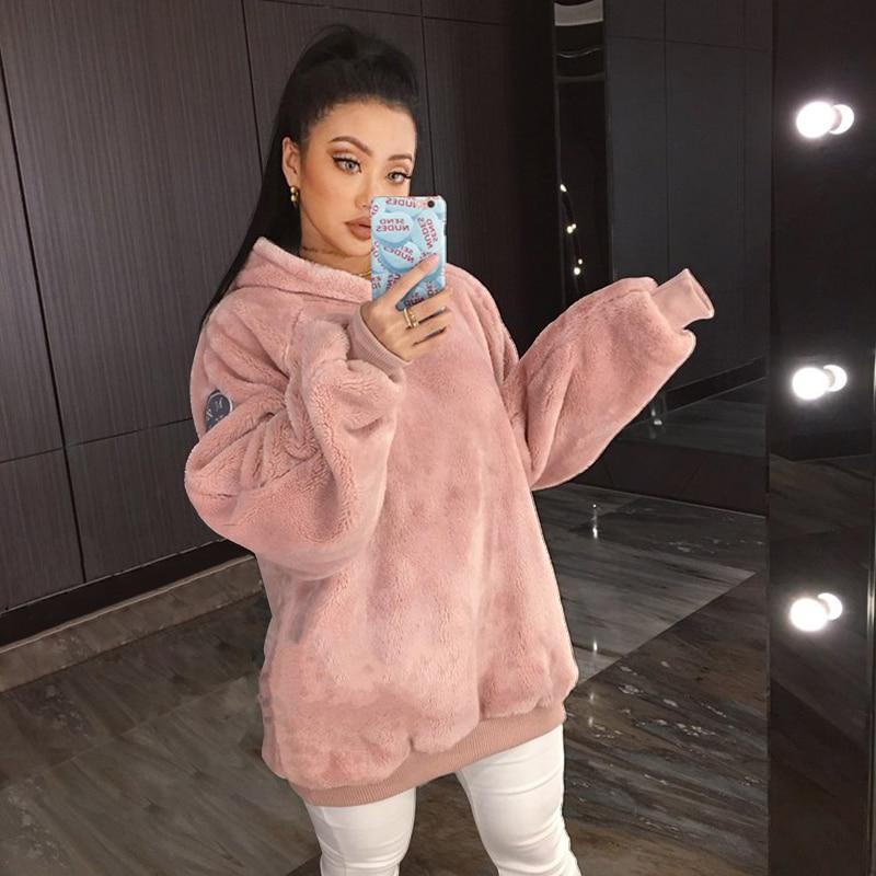 Warm Women Oversize Hoodies Sweatshirts
