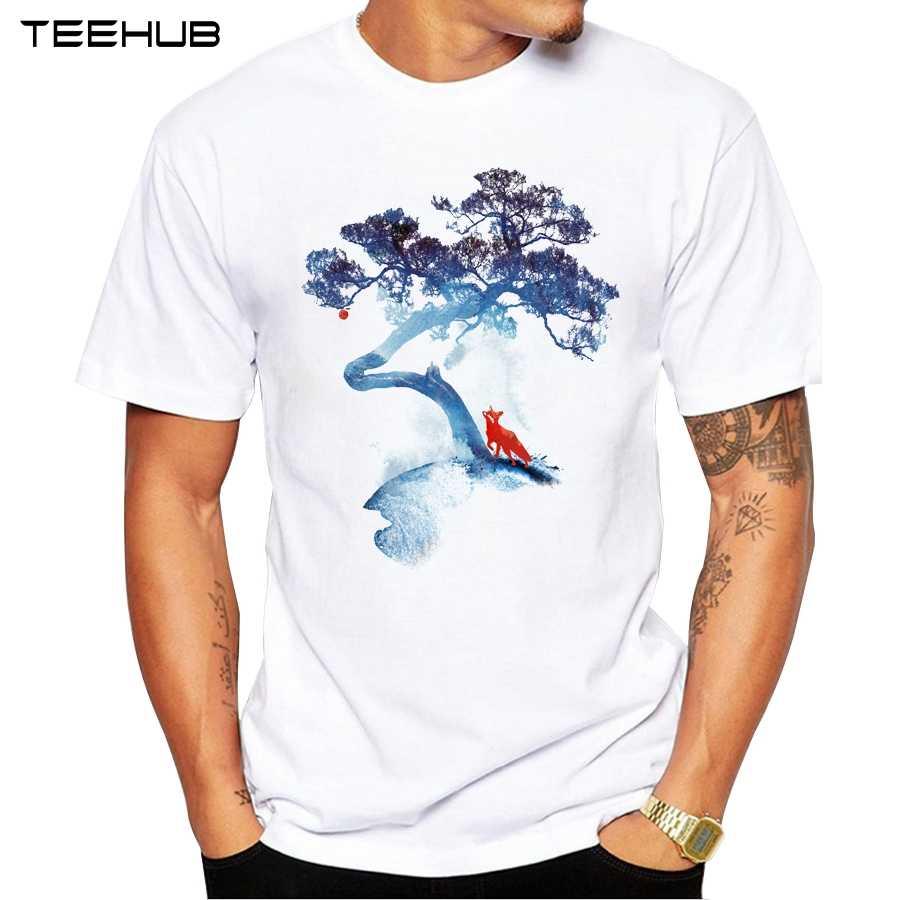 L' ultimo apple tree t-shirt Da Uomo di Modo di Arte Stampato Freddo Uomini della maglietta di Estate Del Manicotto Del Bicchierino casual Bianco Magliette e camicette Pantaloni A Vita Bassa magliette