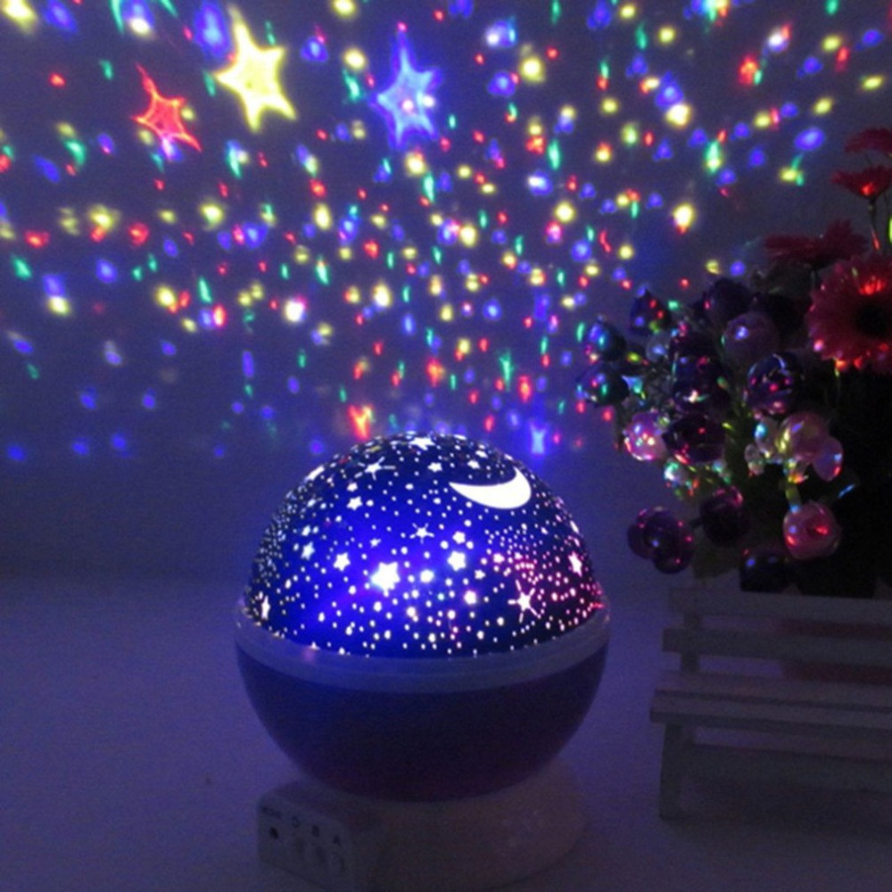 Creative Unique Shape Starry Star Projection Night Light Romantic Rotate LED lamp Battery Table Lamp for Baby Kids Sleeping
