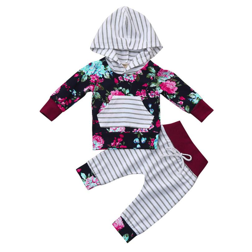 2017Fashion baby clothing set Newborn Infant Baby Boy Girl Floral Print Hoodie Long Sleeve Tops+Pants Outfit Clothes Set 17Nov20