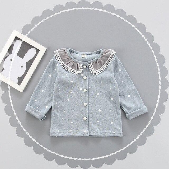 Весна осень синий новый стиль новорожденных девочек рубашки маленьких девочек, модные блузки девушки с длинным рукавом рубашки