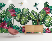 Beibehang Custom Silk Cloth Wallpaper Tropical Plant Bird Dancing Hand Painted Watercolor Backdrop Wall Wallpaper For