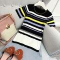 Bloco de cores primavera verão listrado malha t shirt mulheres tops slim fit sexy kawaii camiseta femme chemisier camiseta feminina