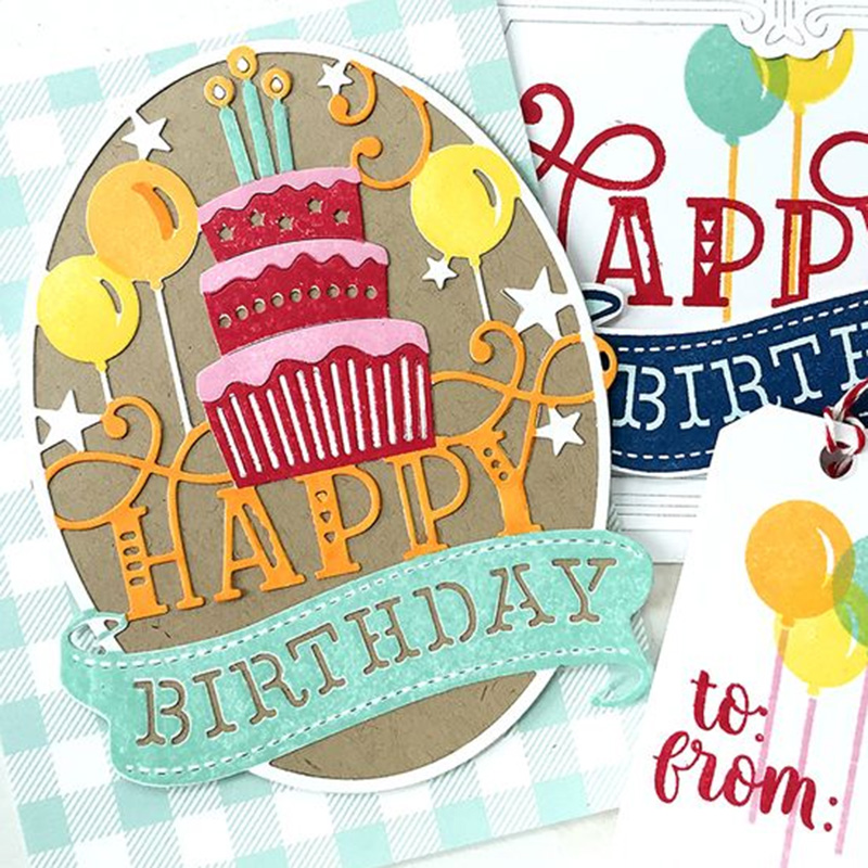 1x candles happy birthday Metal Cutting Dies Scrapbooking Embossing craft Ag