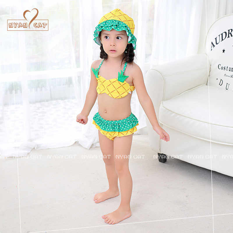 3640b18d70a03 ... NYAN CAT baby girls swimsuit infant toddler kids children fashion  pineapple fruit swimwear hat+bra