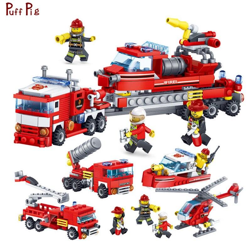 348 pz 4 in 1 Stazione di Antincendio Building Blocks Deformazione Elicottero Auto Barca Compatibile Legoed Polizia Città Mattoni Bambino