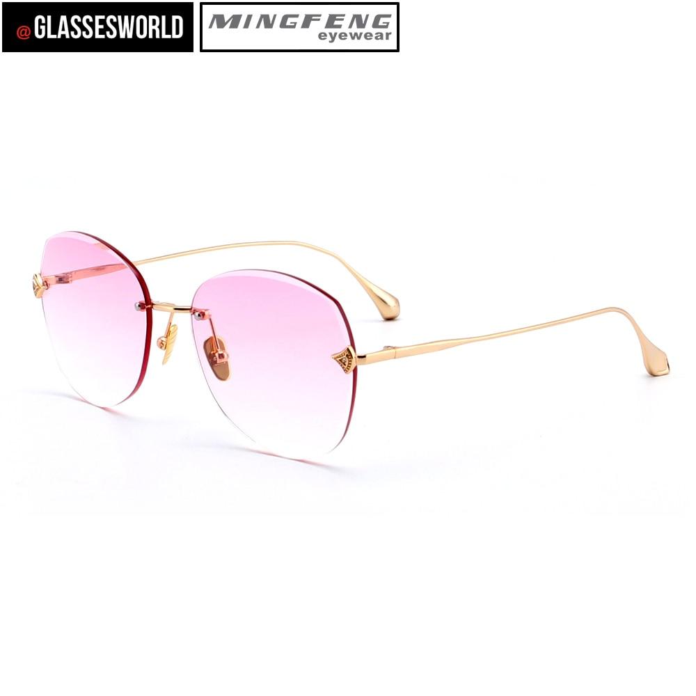 Pink M2851 Neue Frauen Rahmenlose Stil Mode Sonnenbrille qBxYRnB