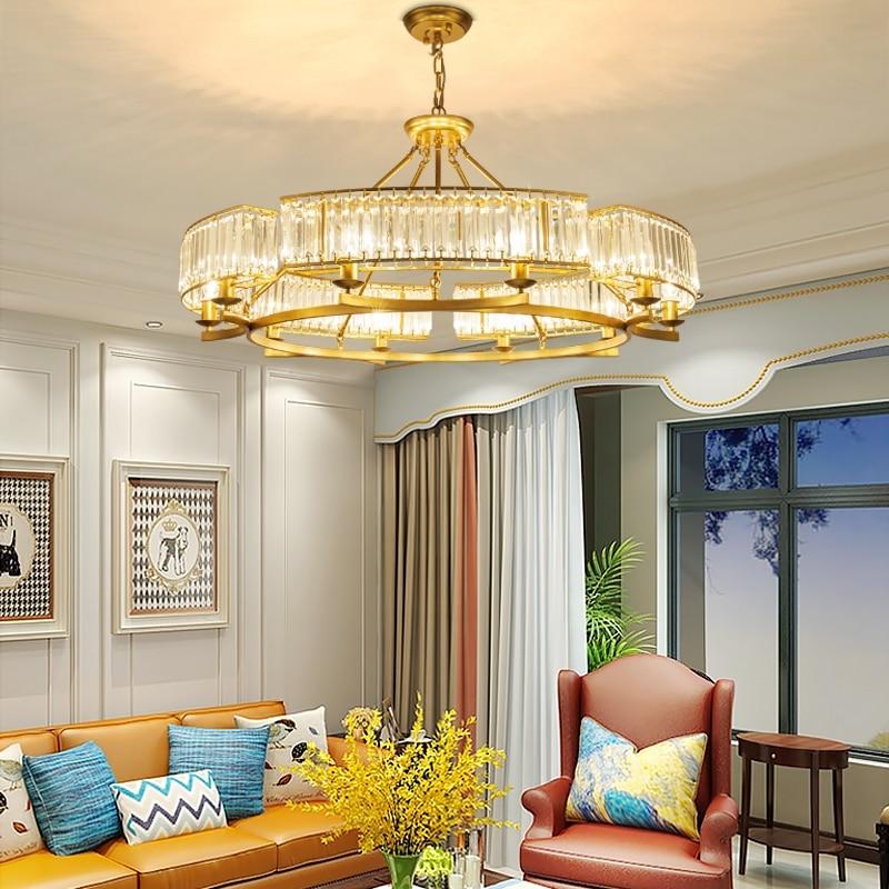 TRAZOS  Plated Crystal Pendant Light K9 Crystal Decorative Pendant Lamp Bedroom Brushed Crystal Pendant Lighting Lustre 110-240V