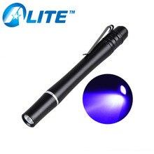 (FREE SHIPPING)3W mini pocket 2*AAA Battery 395NM Ultraviolet Aluminum Alloy uv Pen Light