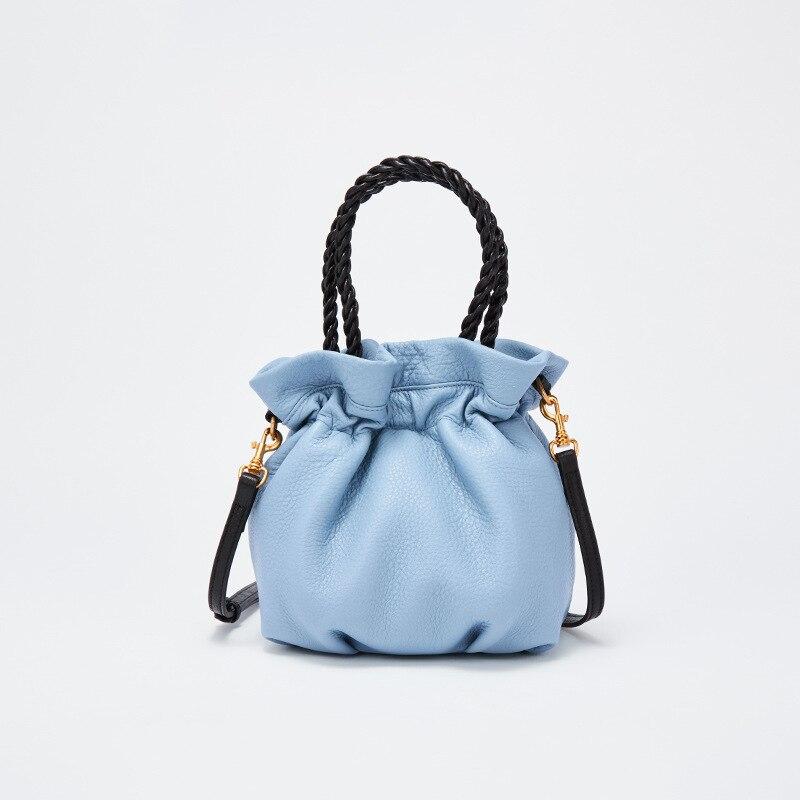 Marque de luxe en cuir véritable sac Hasp seau mignon petit sac à bandoulière dames sacs à bandoulière pour femmes 2019 pochette à cordon