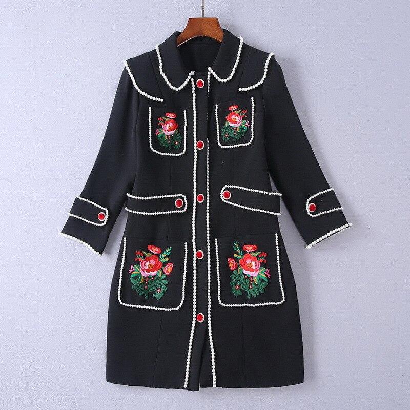 2018 осень зима женские Шерстяное пальто Черная курточка Однобортный жемчуг Бисер тонкий пальто цветок Вышивка Элегантные женские пальто