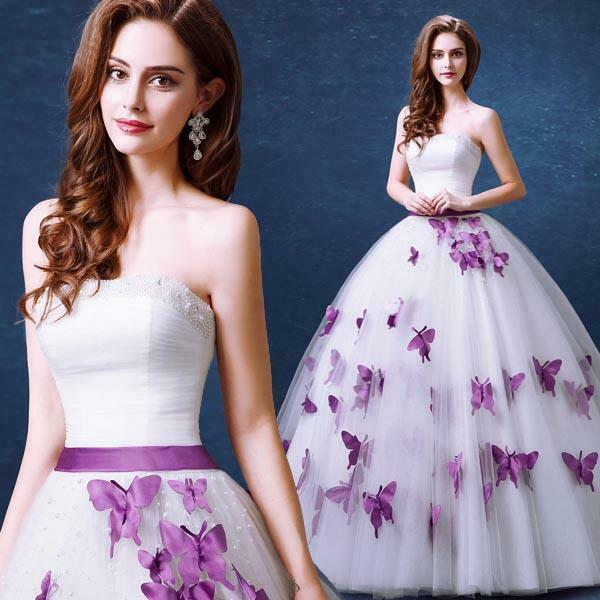 New Purple Butterfly Beads Tulle Bow Wedding Dress 2 4 6 8 10 12 14 16 18 JE5YSF
