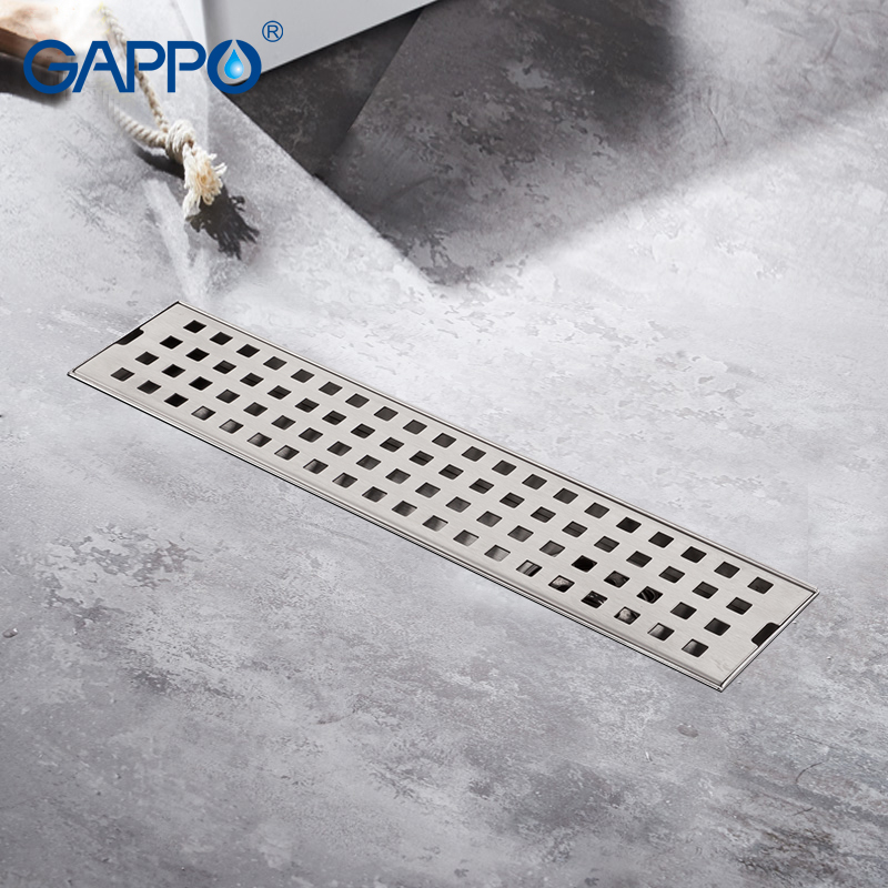 GAPPO Drains stainless steel recgangle bathroom floor cover drains strainer anti odor shower drain strainer waste