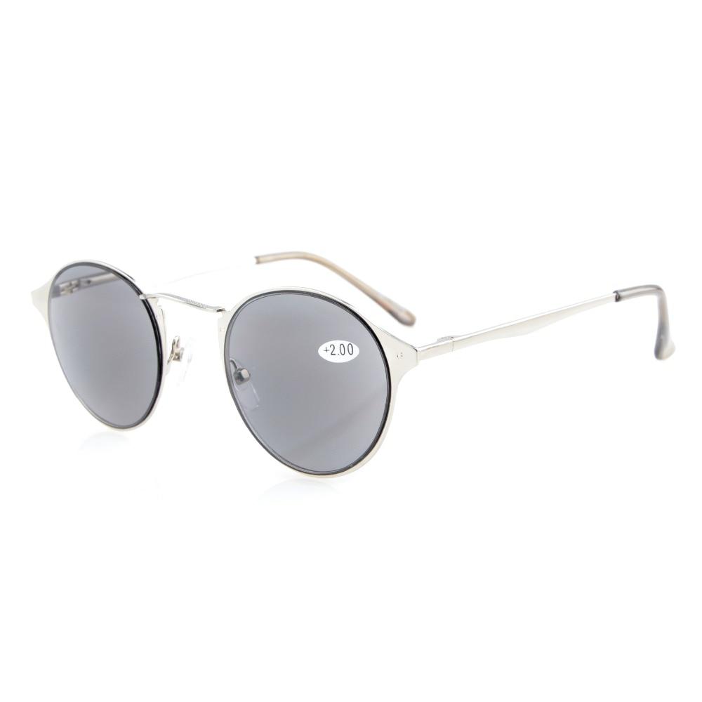 R15079 Eyekepper Crystal Clear Vision Confort Brazos de resorte Gafas de lectura redondas y gafas de sol de lectura Lectores solares +0.50 --- + 4.00