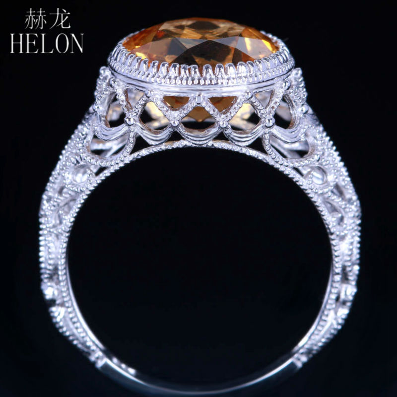 HELON Jewelry 14K Rose Gold Natural Citrine Ring Colored Natural GEM Ring Women Yellow Crystal Stone Wedding Anniversary Ring gorgeous faux crystal colored ring for women