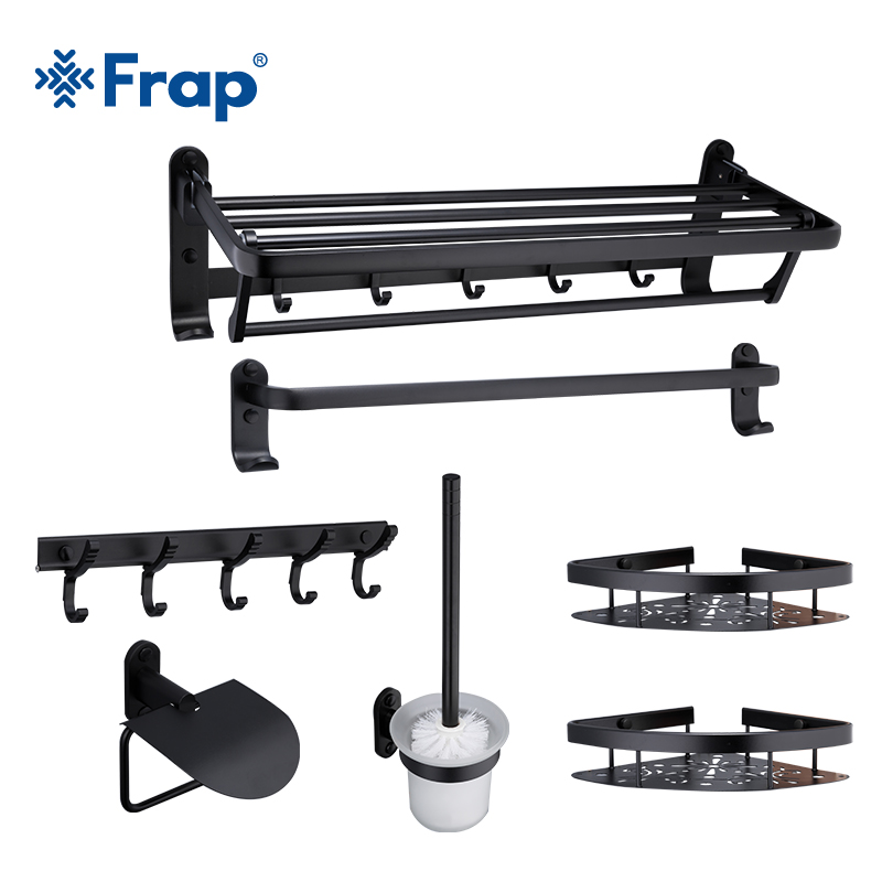 Frap Space Aluminum Bathroom Hardware Sets Accessories Wall Mounted Towel Hook Bathroom Products Black Seven pieces Y18050