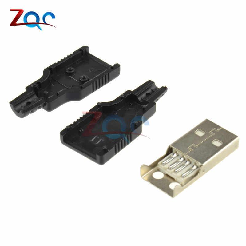 5Pcs USB2.0 Type-A ปลั๊กอะแดปเตอร์ 4 ขาแจ็คฝาครอบพลาสติกสีดำ