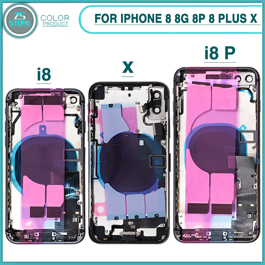 New Full Housing Case For iphone 8 8G 8P 8 Plus X Battery Back Cover Door Rear Cover + Middle Frame Chassis With Flex Cable(China)