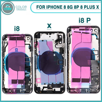 New Full Housing Case For iphone 8 8G 8P 8 Plus X Battery Back Cover Door Rear Cover + Middle Frame Chassis With Flex Cable