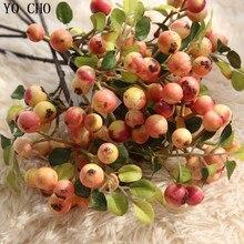 YO CHO 3pcs Artificial Plant Real Touch Vivid Fake Fruit Mini Apple Be