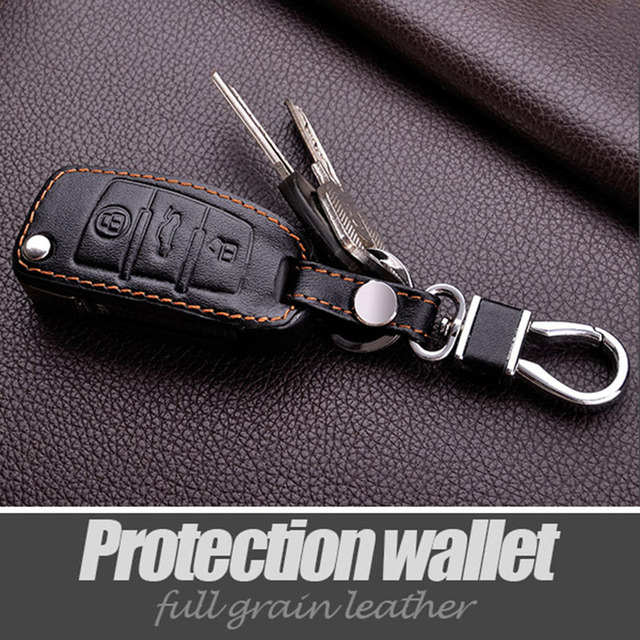 Leather Wallet Keychain For Audi For Audi A4 B6 A6 Q5 A1 A3 Q7 R8 Tts Folding Remote Accessories Genuine Leather Car Key Cover