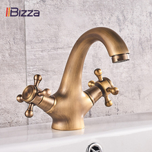 IIBizza Antique Faucet Hot and Cold Water Brass Bronze Brushed Sink Faucets Bathroom Swan Tap Vintage Basin Double Handle Mixer